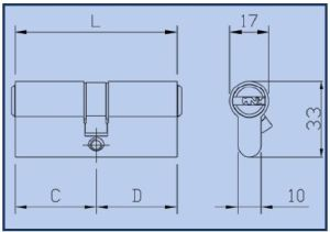 ISEO R7 Двусторонний цилиндр ключ-ключ, 11 пинов